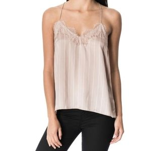 CAMI NYC RACER STRIPE LACE SILK TOP